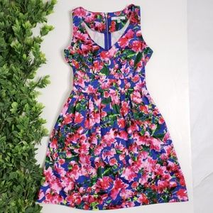 MILLY For Design Nation Floral Fit and Flare Dress